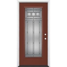 Masonite Craftsman Glass Flush Insulating Core Full Lite Left-Hand Inswing Currant Fiberglass Painted Prehung Entry Door (Common: x Actual: x Entry Door With Sidelights, Front Doors, Front Porch, Primed Doors, Craftsman Door, Craftsman Style, Door Sweep, Fiberglass Entry Doors, Steel Paint