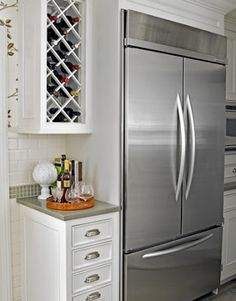 Love the freezer drawer! Im bettin this has one of those amazing party tray drawers in the fridge also. Kitchen Cabinet Design, Kitchen Redo, Kitchen Layout, Kitchen Interior, Kitchen Remodel, Kitchen Renovations, House Remodeling, Wine Cabinets, Kitchen Cabinets
