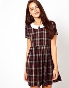 River Island Chelsea Girl Check Peterpan Collar Dress