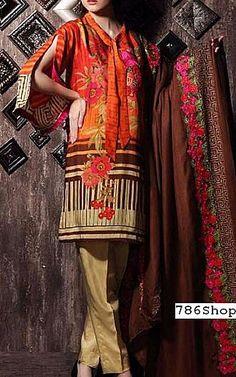 Orange/Beige Staple Jacquard Suit   Buy Charizma Pakistani Dresses and Clothing online in USA, UK