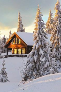 Cabin on snowy hill, Norway