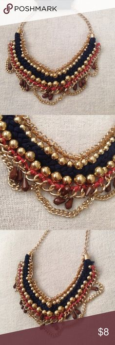 Statement Necklace Gold tone necklace with navy blue pink thread and beads Jewelry Necklaces