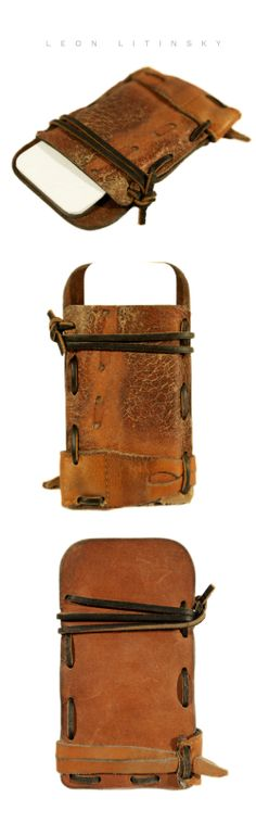Baseball Glove Leather Phone Case by Leon Litinsky.