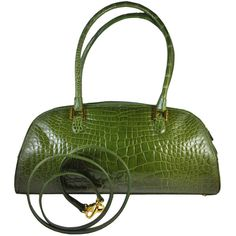 Preowned Lana Marks Fabulous Olive Green Genuine Alligator Handbag ($3,200) ❤ liked on Polyvore featuring bags, handbags, purses, green, army green purse, green purse, olive green handbag, pre owned handbags and lana marks handbags