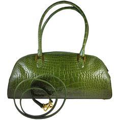 Preowned Lana Marks Fabulous Olive Green Genuine Alligator Handbag ($3,200) ❤ liked on Polyvore featuring bags, handbags, purses, green, army green purse, green purse, olive green handbag, pre owned handbags and lana marks handbags