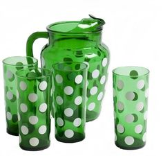 Vintage Polka Dot Pitcher and Four Tall Beverage Glasses