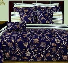 12pc French Country Blue Floral Cotton Duvet Comforter Cover and Sheet Set - Country style dark Blue floral bedding set reversible to a striped pattern, sure to please his and hers  #country bedding #country duvet cover #dark blue floral bedding