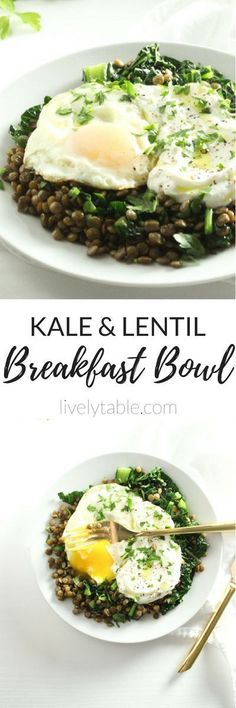 Kale, lentils, yogurt, and eggs come together to make a delicious and healthy Kale Lentil Breakfast Bowl with ingredients you probably already have in your kitchen! Via livelytable.com
