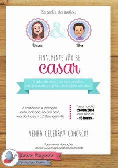 Olá, noivinhas do meu coração! Preparei para vocês um modelo de convite com estilo bem moderninho e editável + o convite individua...