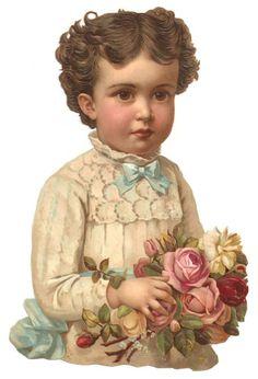 Victorian Chromo Die Cut Flower Girl Dress Rose Scrap 1880s