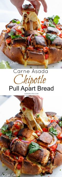 Carne Asada Chipotle Pull Apart Bread | http://cafedelites.com