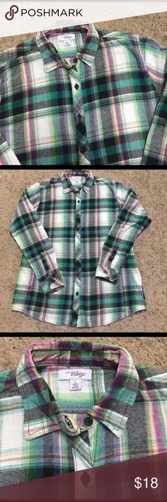 "Beautiful flannel shirt 20"" chest. 26"" length from bottom of the collar. Women's cut. Beautiful shades of teal blue, green, purple, white and yellow. indigo Tops"