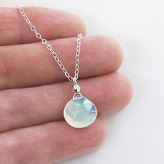 Ocean Chalcedony Necklace Briolette Solitaire Sterling by DJStrang