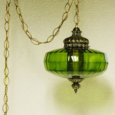 Vintage hanging light - hanging lamp - green globe - chain cord - swag lamp - pendant light... I so want to find one of these for my craft room and some more for the house.