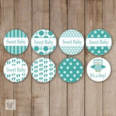 INSTANT DOWNLOAD Printable Small Candy Labels 0.75 inch Candy Stickers Baby Shower Party Favors Green Baby Feet Owl Its a Boy DIY Party