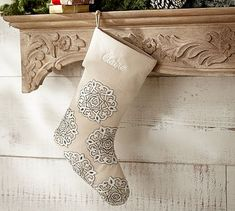 Gold & Silver Embroidered Christmas Stocking