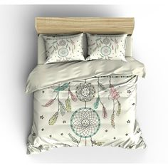 Boho Chic Bedding Duvet Cover Set Catch a Dream Dream Catcher... ($119) ❤ liked on Polyvore featuring home, bed & bath, bedding, duvet covers, home & living, silver, twin bedding, king size duvet cover sets, twin duvet set and queen duvet cover set