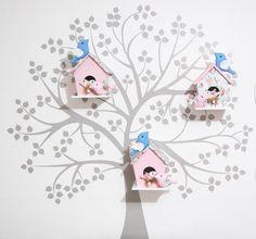 Adeviso Parede com 03 casinha passarinho familia - Infinita Arte for Baby - 27D64