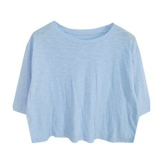 Cropped T-shirt (3.180 RUB) ❤ liked on Polyvore featuring tops, t-shirts, shirts, crop tops, cotton tee, crop top, crop tee, blue t shirt and crop shirts