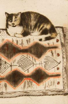 Elizabeth Blackadder (Escocia, 1931). Kikko on a Rug (detail), 2003.