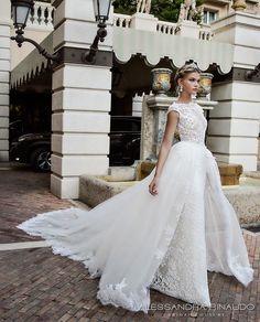 alessandra rinaudo 2017 bridal cap sleeves boat neckline lace embellished bodice romantic sheath wedding dress ball gown a  line train lace back long train (bibi) mv