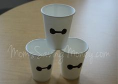 Big Hero 6 Party Ideas - #Baymax Party Cups. Simple and easy to make and costs $1!
