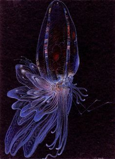 """Moebius concept art for creature in """"The Abyss"""""""