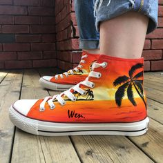 reputable site 1c451 a3072 US  63.2 20% OFF Aliexpress.com   Buy Wen Original Design Custom Hand  Painted Canvas Shoes Hawaii Coconut Palm Tree Sunset High Top Sneakers  Unisex Special ...