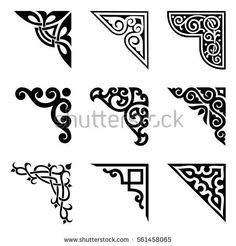 108 Decorative Floral Corners Free Vector Pack - The decoration of the 108 type that was excerpt from past article is copyright free of vector data - Stencil Patterns, Stencil Art, Stencil Designs, Pattern Art, Celtic Patterns, Celtic Designs, Art Deco Design, Glass Design, Mononoke Cosplay