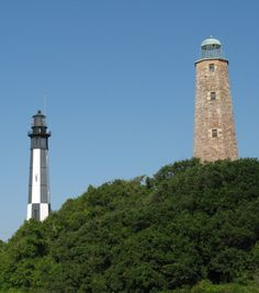The Old Cape Henry Lighthouse (right) next to the New Cape Henry Lighthouse (left) Virginia Beach
