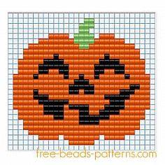 Halloween pumpkin free fusion beads seed beads pattern for children - free perler beads patterns fuse beads Hama Beads Hama Beads Design, Hama Beads Patterns, Seed Bead Patterns, Beading Patterns, Loom Beading, Cross Stitch Cards, Beaded Cross Stitch, Cross Stitching, Cross Stitch Embroidery