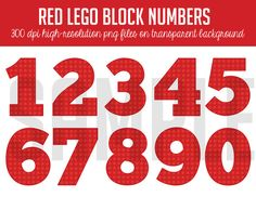 Digital Clipart Red Lego Number Set on Etsy, $5.00