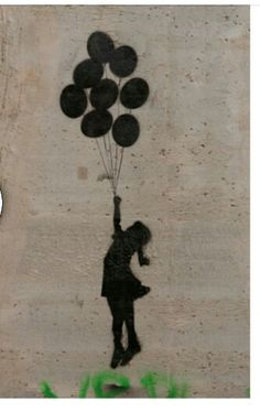 "Banksy. .. art graffiti in Bethlehem called ""The girl with balloons"""