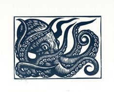 Hand Carved and Hand Press Octopus Linocut Print Hand printed in slate blue or black oil based ink on white or ivory 65 lb acid free card stock paper ✯ Image Measures 5 x 7 Paper measures: 7.5 x 9.25 ______________________________ Visit us: ☛ Web: www.horseandhareart.com ☛☛ Blog