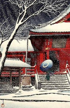 wind dancing snowflakes / on the cold moonlight swirling / let me go inside!         ....              Kiyomizudo in Snow - Kawase Hasui (1883-1957)