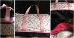 Sac Boston cousu par Fabienne - toile à sac et tissu flamants roses - Patron couture Sacôtin