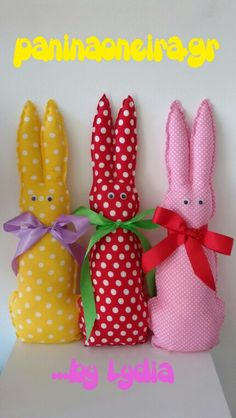 Fabric bunnies. www.paninaoneira.gr #handmade #fabricstuff #babygifts #gift #gifts #fabric ##decoration #decorating #decorative #deco #handcrafted #red #yellow #pink