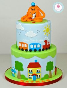 Mr Men Cake By Verusca Walker Chocolate Mud Cake And Foam - Mr tickle birthday cake