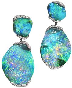 Mimi So's ZoZo boulder opal earrings with 101 carats of boulder opal and .80 carat of pave diamonds set in 18 karat white gold. More: http://diamondsinthelibrary.com/mimi-so-zozo-collection-opals-for-days/
