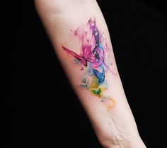 awesome Watercolor tattoo - Very pretty watercolor tattoo style of Butterflies motive done by artist Versus . watercolor tattoo Watercolor tattoo - Very pretty watercolor tattoo style of Butterflies motive done by artist Versus Watercolor Butterfly Tattoo, Butterfly Tattoo Cover Up, Butterfly Tattoo On Shoulder, Butterfly Tattoos For Women, Butterfly Tattoo Designs, Watercolor Tattoos, Colorful Butterfly Tattoo, Purple Butterfly, Trendy Tattoos