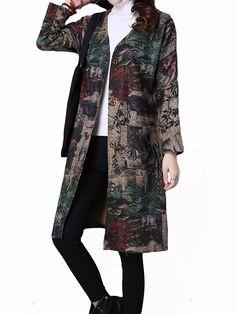 Sale 19% (31.99$) - Vintage Printing Long Sleeve Loose Thick Wool Coat