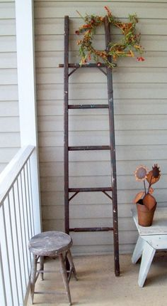 Authentic Apple Orchard Ladder  Antique Folk Art  Vintage 6 FT