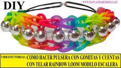 COMO HACER PULSERA ELÁSTICA CON CUENTAS ESCALERA ARCOIRIS EN TELAR RAINBOW LOOM TUTORIAL ESPAÑOL DIY  INSTRUCCIONES RAINBOW LOOM EN ESPAÑOL. BEAD RAINBOW LADDER BRACELET de gomitas (ligas, bandas de caucho....) con el telar RAINBOWLOOM ( antiguamente Twistz Bandz), MUY FACIL. Idea regalo de navidad, cumpleaños, San Valentín...chica, para novia, amiga o madre o chico, para novio, amigo o padre