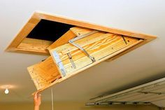 707b9242fcecd980a8a7ef513a9c4d81--attic-ladder-folding-ladder.jpg & Werner Wood Attic Ladders - Long Installation Video | house stuff ...