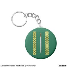 Celtic Sword and Knotwork Basic Round Button Keychain