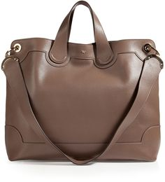 Anya Hindmarch Leather Seymour Shopper Tote in Medium Grey on shopstyle.com