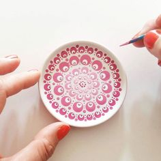 Handmade porcelain with handpainted blossom decoration. Mandala Painting, Dot Painting, Ceramic Painting, Stone Painting, Pottery Painting Designs, Paint Designs, Mandala Dots, Mandala Design, Painted Plates