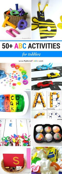 Over 50 ABC Activities for Toddlers. So many toddler activities focusing on learning the alphabet through play - perfect for teaching the alphabet to 2 and 3 year olds! Kids Learning Activities, Alphabet Activities, Toddler Learning, Toddler Preschool, Fun Learning, Preschool Activities, Preschool Alphabet, Teaching Resources, Abc Alphabet