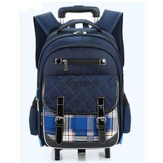 fa7a4f8ca5e7 2016 New Design Removable Trolley School Bag for Children Dark Blue  Waterproof Backpacks Fashion Plaid Causal Mochila