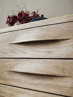 Beautiful wooden drawer details.